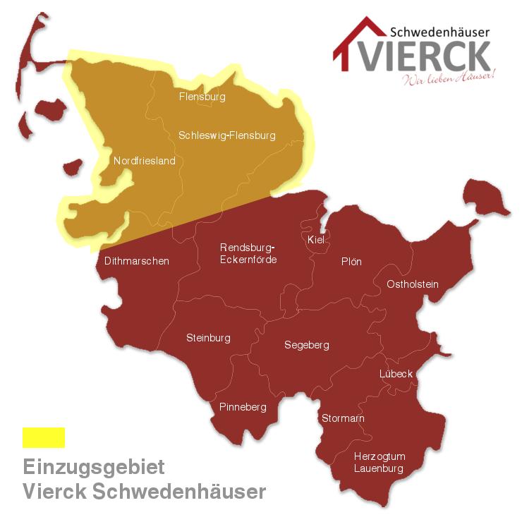 Hier bauen wir: Landkarte mit dem Einzugsgebiet der Vierck Schwedenhäuser GmbH