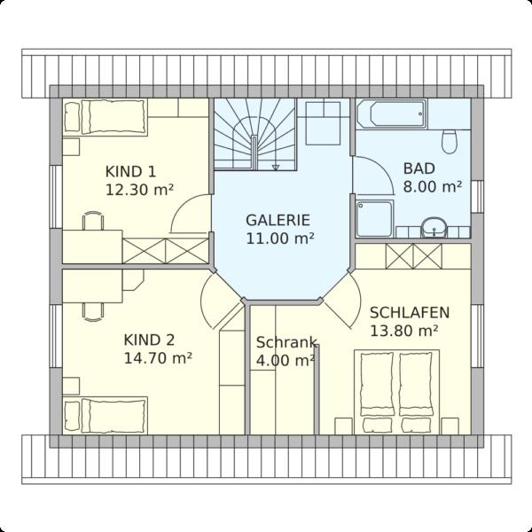 Schwedenhaus Glücksburg Grundriss Dachgeschoss